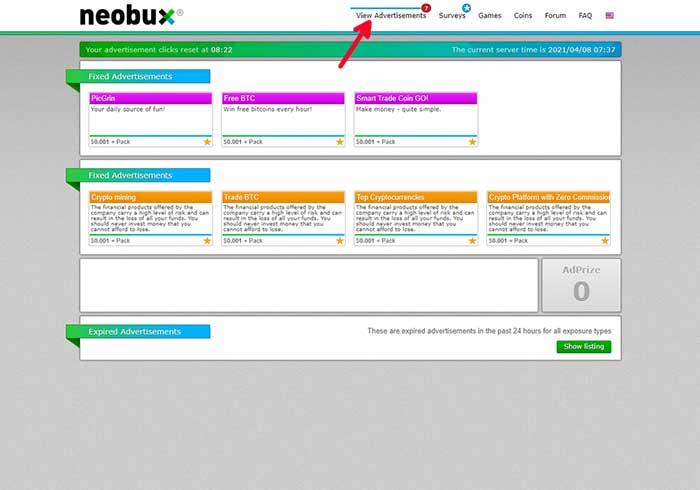 earning methods in neobux