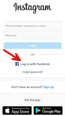 instagram login with fb